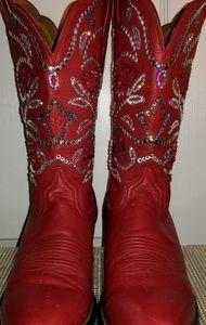 Womens Red Swarovski Crystal Ariat Cowboy Boots